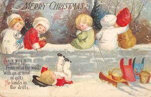 Christmas Greetings Children with Sleds on Wall Vintage Postcard JD933403