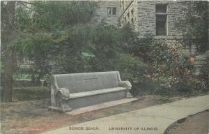 Champaign University of Illinois~Handcoloed: Shrubs Over 1909 Senior Class Bench