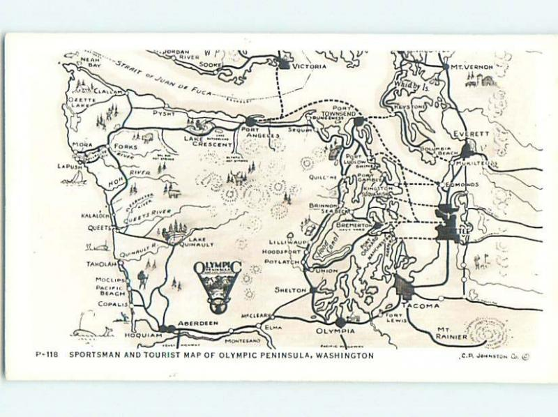 Pre1950 rppc ROAD MAP ON POSTCARD Olympia Aberdeen Seattle WA