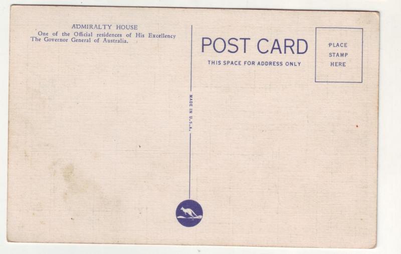 P93 JLs old postcard sydney admiralty harbour house