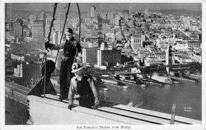 San Francisco Skyline from Bridge Construction Bay Bridge 1937 Vintage Postcard