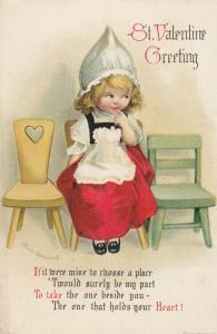Ellen CLAPSADDLE ; Girl in chair , St Valentine Greeting , 1919