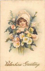 F99/ Valentine's Day Love Holiday Postcard c1910 SILK Pretty Girl 25