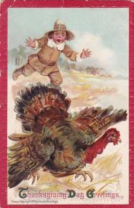 Thanaksgiving Boy Chasing Turkey 1911 Francis Brundage