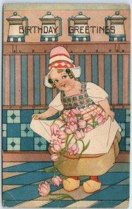 1910s BIRTHDAY Greetings Postcard Dutch Girl w/ Apron Full of Pink Tulip Flowers