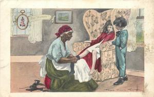 Black Americana~The Mammy~Puts Shoes on Sulky Victorian Girl~Headrag~Artist