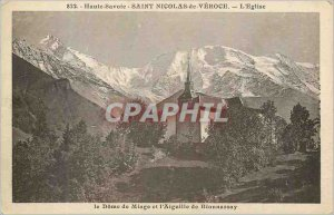 Postcard Old Saint Nicolas de Veroce Haute Savoie The Church The Dome Miage t...