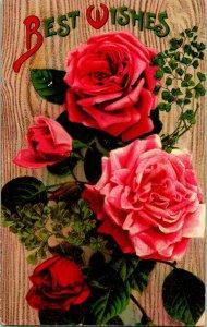 Vtg Carte Postale 1910s Floral Voeux non Utilisé Rouge Rose Best Souhaits Unp