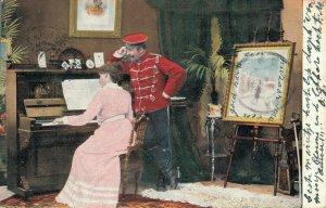 Romantic Couple Playing Piano Vintage Postcard 06.67