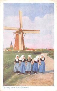 Holland Zeeland Op weg naar huis Ethnic Girls Traditional Folk Costumes 1951
