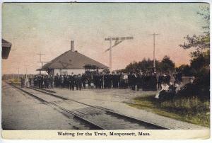Monponsett MA Railroad Station Train Depot Large Crowd Postcard