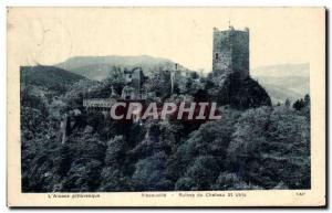 Old Postcard L & # 39Alsace Picturesque Ribeauville Ruins of Chateau St Ulric