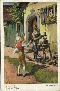 Artist Signed Otto Kubel, Brothers Grimm Fairy Tale, Hans in Luck (1930)