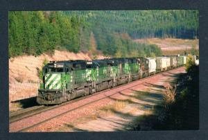 MT Burlington Northern Diesel Railroad Train 7846 nr Belton Montana Postcard RR