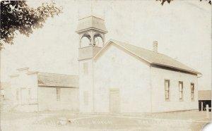 F54/ North Royalton Ohio RPPC Postcard Leiter c1910 M.E. Church Town Hall