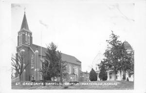 Marysville Kansas~St Gregory's Catholic Church~House~1950s Real Photo~RPPC