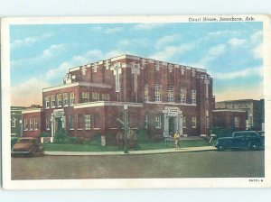 Linen COURTHOUSE SCENE Jonesboro Arkansas AR AE9949