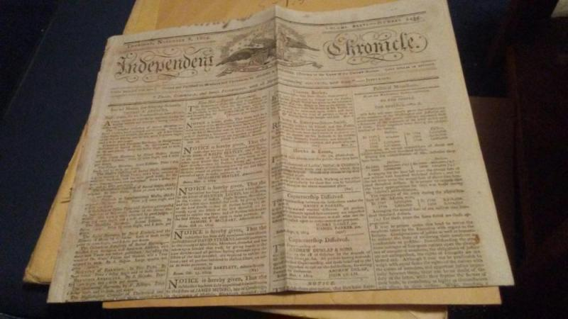 1804 NEWSPAPER INDEPENDENT CHRONICLE $150 or best offer