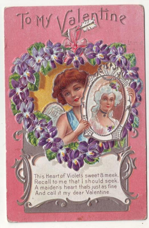 P88 JLs old valentines postcard flowered heart embossed