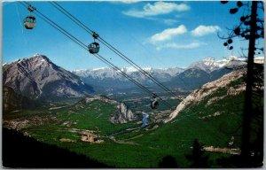 Vintage 1967 Alberta, Canada Postcard Banff Sulphur Mountain Gondola Lift