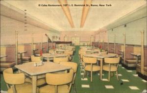 Rome NY El Coba Restaurant Linen Interior Postcard