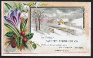 VICTORIAN TRADE CARD Farmers Fertilizer Snow Covered House & Flowers c1882