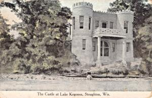 STOUGHTON WISCONSIN~THE CASTLE AT LAKE KEGONSA-MAN SITTING ON ROCK POSTCARD 1915