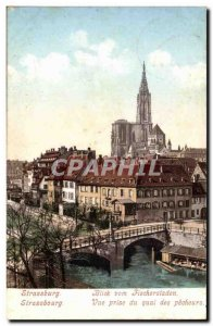 Strassburg Old Postcard View from the dock fishermen
