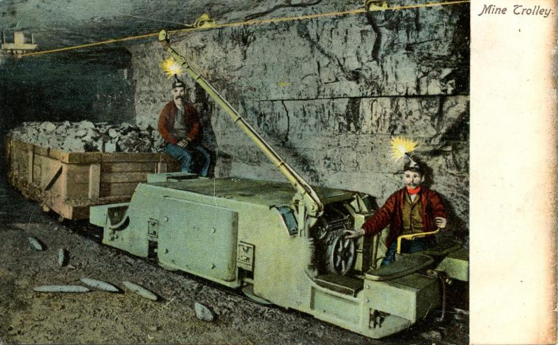 PA - Anthracite Region. Mine Trolley Loaded Cars Inside Coal Mine (Mining)