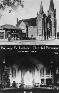 Escanaba MI~Bethany Evangelical Lutheran~Christmas Tree~Parsonage~RPPC 1940s