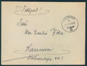 3rd Reich Germany 1940 Feldpost Cover Waffen SS Inf Regt 2 55649