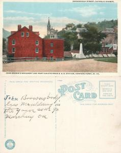 HARPERS FERRY JOHN BROWN MONUMENT FROM B. & O. RAILWAY STATION ANTIQUE POSTCARD