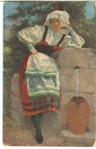 G Sykora, an der Quelle, at the Source, early 1900s used