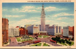Ohio Cleveland Public Square and Union Terminal Tower 1955 Curteich