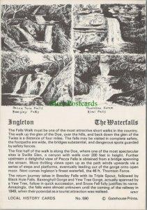 Yorkshire Postcard - Pencil Sketch of The Waterfalls, Ingleton   RR10384