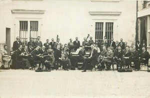 Real photo postcard 1918 Switzerland music orchestra snapshot band master