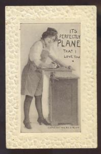 WOMAN USING PLANER I LOVE YOU VINTAGE COMIC POSTCARD F. BLUH 1910 BANGOR ME.