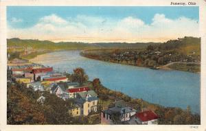 B61/ Pomeroy Ohio Postcard 1941 Birdseye View River Homes Stores