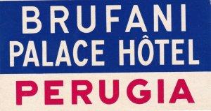 Italy Perugia Brufani Palace Hotel Vintage Luggage Label lbl0378