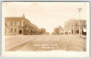 Paulina Iowa~Main Street N~Ladies Window Shop Stores Across from Bank~1914 RPPC