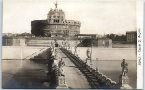 Vintage ROME Italy RPPC Real Photo Postcard Roma - Castel S. Angelo