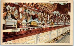 San Antonio, Texas Postcard Original BUCKHORN Bar View Taxidermy Linen 1947