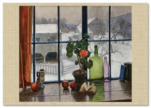 Windows Interior Wine Glass Bottle Flowers Painting by Woodward Russian Postcard