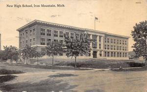 Iron Mountain Michigan~New High School~Flag on Roof~Unpaved Street~1913 B&W Pc