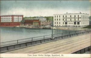 Rockford IL Girder Bridge Wholesale Grocery Co c1910 Postcard
