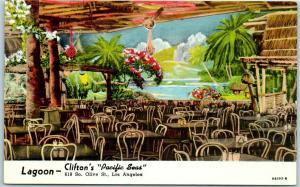 1940s Los Angeles CA Postcard Lagoon - Clifton's Pacific Seas Cafeteria LINEN