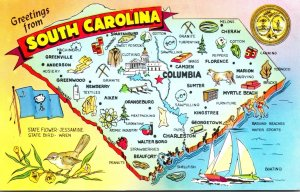 Map Of South Carolina With Greetings From The Palmetto State