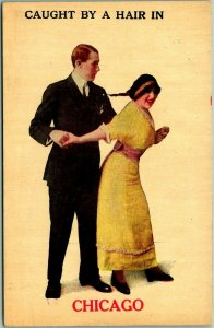 1910s CHICAGO Illinois Romance Greetings Postcard Caught By a Hair in? Unused