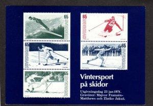 Swedish Facsimiles of postage stamps on front of Postcard Sweden Skiing Sverige