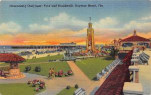 Daytona Beach Florida~Oceanfront Park & Boardwalk~Clock Tower~Pavilion~1940s Pc